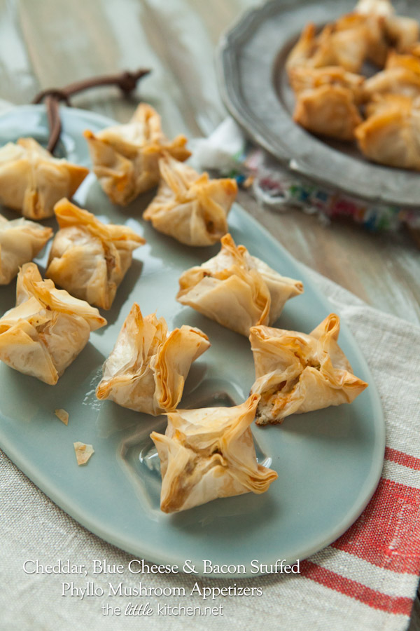 Cheddar, Blue Cheese and Bacon Stuffed Phyllo Mushroom Appetizers