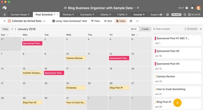 Calendar Post Schedule View in Blog Business Organizer